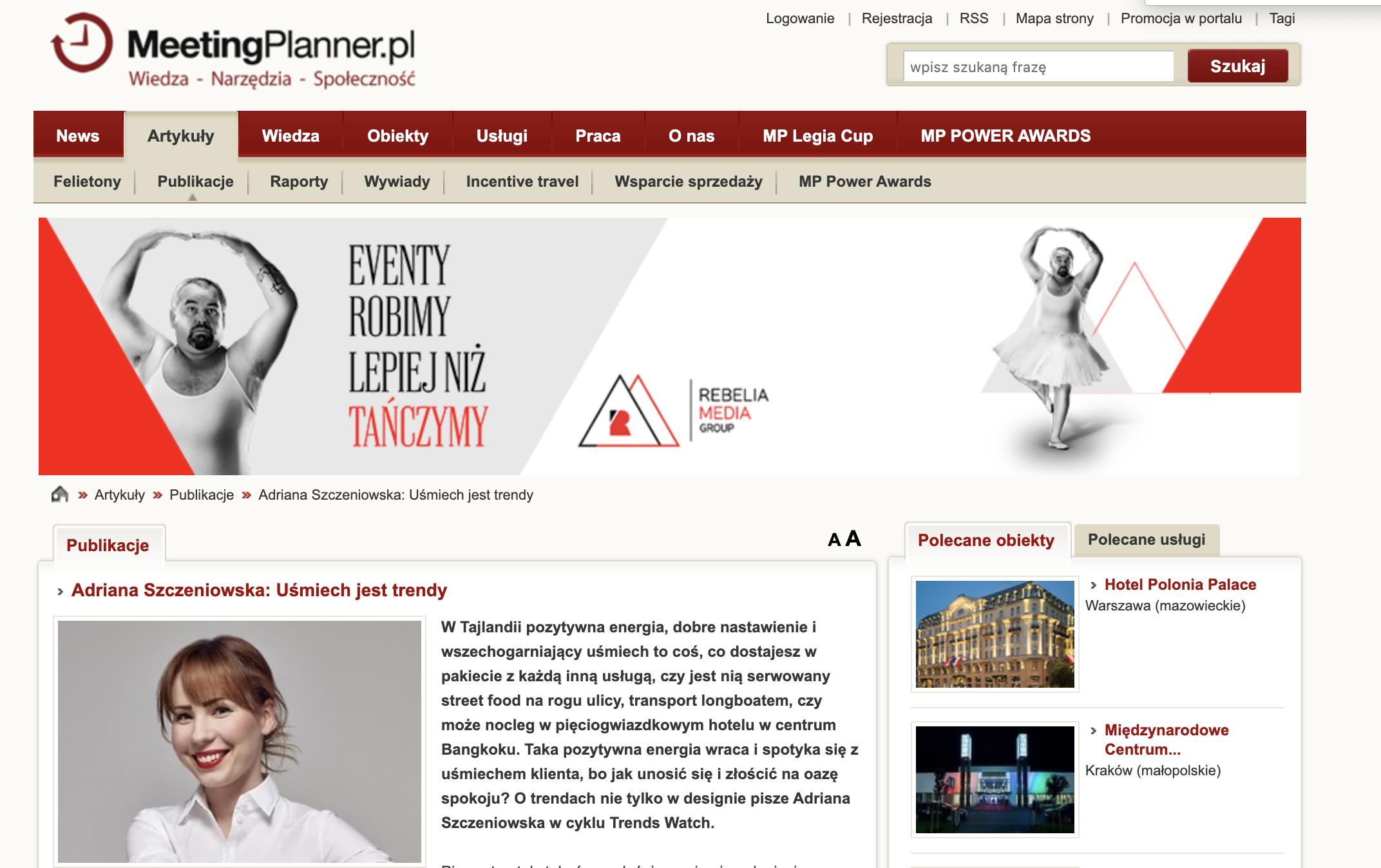 """Felieton Ady na portalu Meeting Plannera """" UŚMIECH JEST TRENDY"""""""